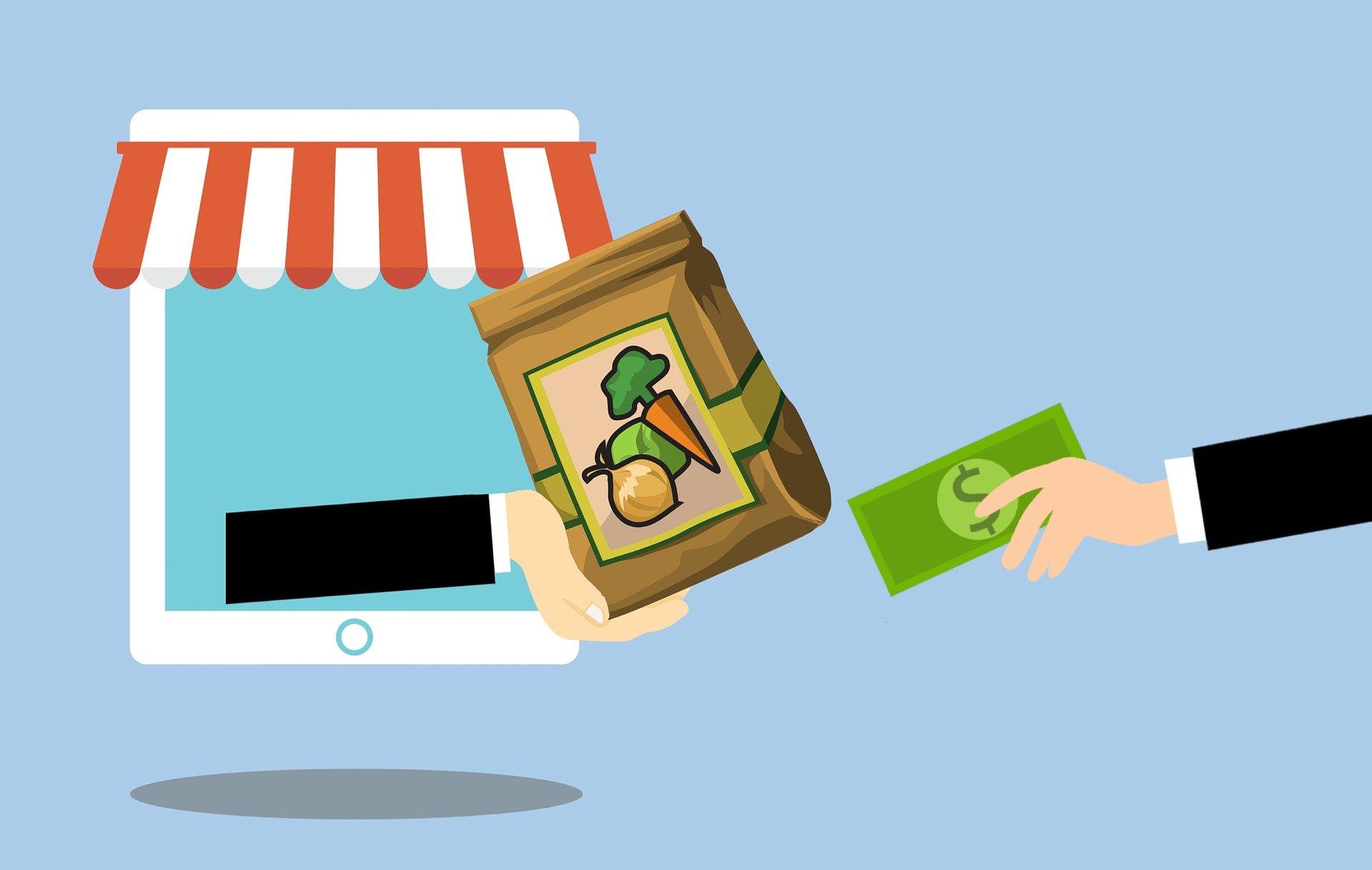 Illustração de duas mãos trocando uma sacola de compras de mercado por uma cédula verde de dinheiro